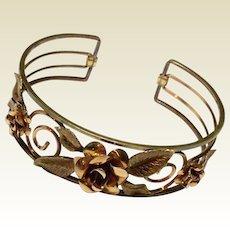Art Deco Two Tone Gold Floral Cuff Bracelet