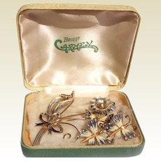 Vintage Sterling Silver Gold Wash Enamel Butterfly Earrings & Brooch Set