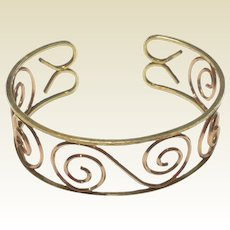 Art Deco Two Tone Gold Filled Cuff Bracelet