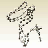 Vintage Sterling Silver Catholic Rosary 1935