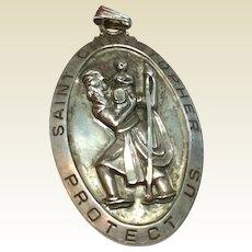 Vintage Sterling Silver St. Christopher Medal