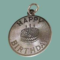 Vintage Sterling Silver Happy Birthday Disk Charm