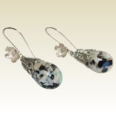 Vintage Captive Floating Opal With Onyx Sterling Silver Dangle Earrings