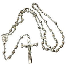 Creed Sterling Ribbed Bead Rosary