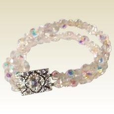 Double Strand A B Crystal Bracelet With Rhinestone Clasp