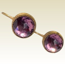 Wonderful Victorian Faceted  Amethyst Paste Gold Gilt Brass Earrings