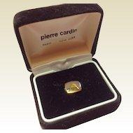 Vintage Pierre Cardin Gold Tone Metal Tie Tack In Original Box