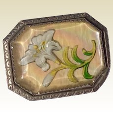 Vintage 1940's Reverse Carved Goofus Glass Flower Brooch