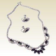 Vintage 1950's Black & Clear Rhinestone Necklace & Earring Set