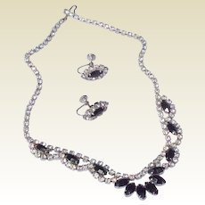 Vintage 1950's Black & Clear Rhinestone Necklace & Earring Set