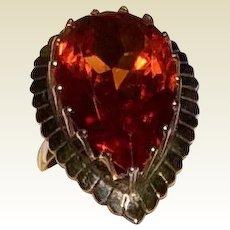 Vintage 14 K Gold 10 Carat Maderia Citrine Ring