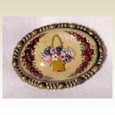 Vintage 1940's Reverse Carved Intaglio Goofus Glass Flower Basket Brooch