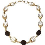 Vintage 12 K Gold Filled Black Onyx Necklace