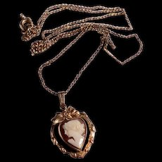 Vintage Gold Filled Heart Shaped Carved Cameo & Chain