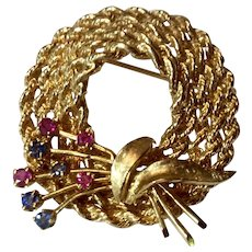 Vintage Estate 14 K Gold Sapphire & Ruby Hat Brooch