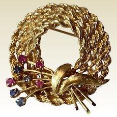 Vintage Estate 14 K Gold Sapphire & Ruby Hat Brooch