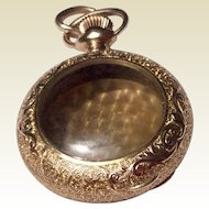 Victorian Gold Filled Ornate Case Pocket Watch Shaped Locket Pendant