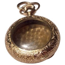 Victorian Gold Filled Ornate Case Pocket Watch Shaped Locket Pendant