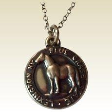 SALE PENDING ---Vintage Sterling Silver Lexington Kentucky Blue Grass Horse Charm Pendant Necklace