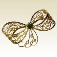 Vintage 12 K Gold Filled Filigree Ribbon Bow Brooch