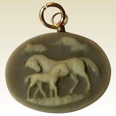 SALE PENDING  DO NOT BUY Vintage Gold Filled Wedgwood Horse Pendant Or Fob