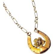 Upcycled Vintage 14 K Gold Diamond Horseshoe Stickpin Necklace