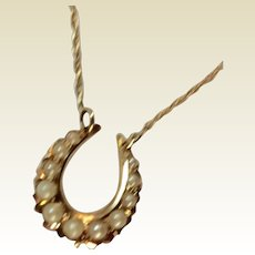 Upcycled Vintage 14 K Gold Seed Pearl Horseshoe Stick Pin Pendant Necklace