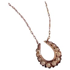 Upcycled Vintage 14K Gold Seed Pearl Horseshoe Stick Pin Pendant Necklace