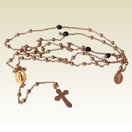 Vintage Silver Rose Gold Gilt Catholic Rosary
