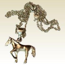 Vintage Sterling Silver Horse Pendant Charm Necklace