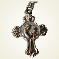 Vintage Saint Anthony Miraculous Cross Medal & Chain