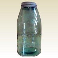 Early Vintage 19TH Century  1/2 Gallon Blue Mason  Fruit Canning Jar Zinc Lid