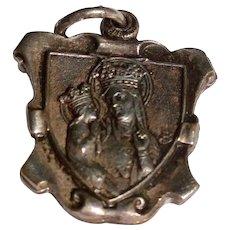 Vintage Silver Tone Metal Sliding Saint Anne Reliquary Medal