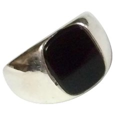 Vintage Sterling Silver Black Onyx Signet Ring
