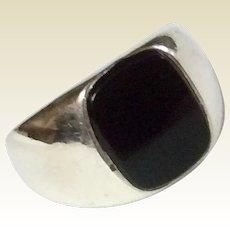Vintage Sterling Silver Black Onyx Signet Ring