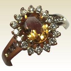 HOLD for KAREN - Do not PURCHASE Beautiful Vintage 14 K Gold Citrine & Diamond Ring
