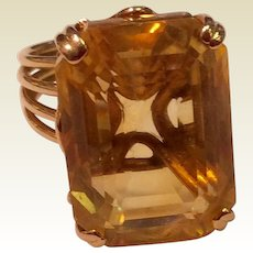 Vintage 14K Gold Large Citrine Statement Ring