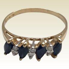 Vintage 14 K Gold Sapphire & Diamond Band Ring
