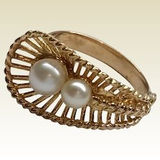 Vintage 18 K Gold Pearl Fan Shaped Statement Ring