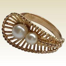 Vintage 18 K Gold Pearl Fan Shaped Statement Ring