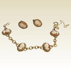 Vintage Gold Filled Cameo Bracelet & Earrings