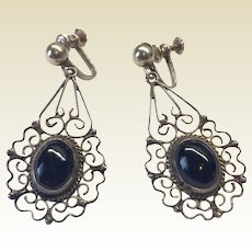 Vintage Sterling Silver Mexican Dangle Black Onyx Earrings