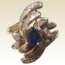Vintage 1960'S 14K Gold Sapphire & Diamond Cocktail Ring