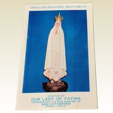 1959 Our Lady Of Fatima Pray For Us Prayer Card