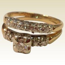 Vintage 1940'S 14 K Gold Two-Tone Diamond Wedding Ring Set