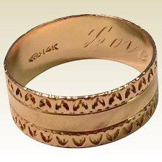 Vintage 14 K Gold Men's Wedding Band Ring