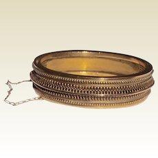 Rare 1880's Etruscan Revival Gold Filled Hinged Bangle Bracelet