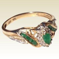 Vintage 10 K Gold Emerald Ring