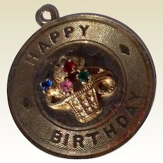 Vintage Estate Silver Vermeil Happy Birthday Disk Charm