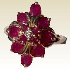 Vintage 1960'S 14 K Gold Ruby Cocktail Ring